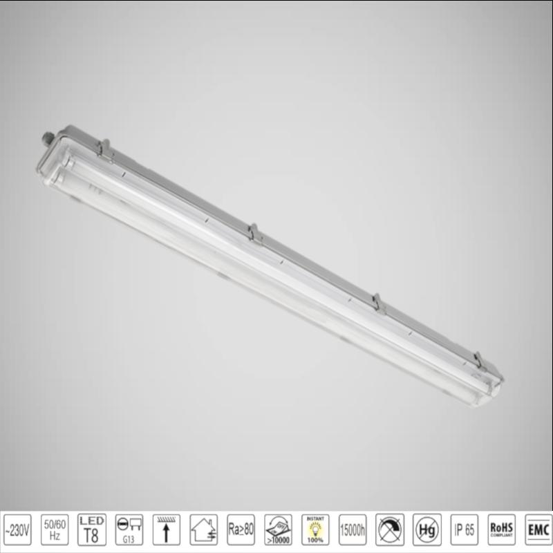 Corp de iluminat BELLA cu Tuburi LED(1500mm) 2X22W Alb Rece IP65