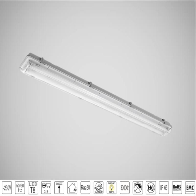 Corp de iluminat BELLA cu Tuburi LED(150cm) 2X24W Alb Rece IP65 + BLOCK