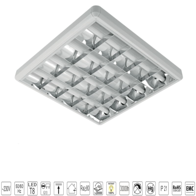 Corp de iluminat cu tuburi LED TUBE(600mm) 4X10W 6400K OM 600/600