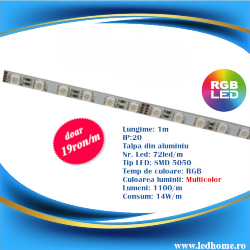 Banda LED Rigida RGB 1m SMD5050