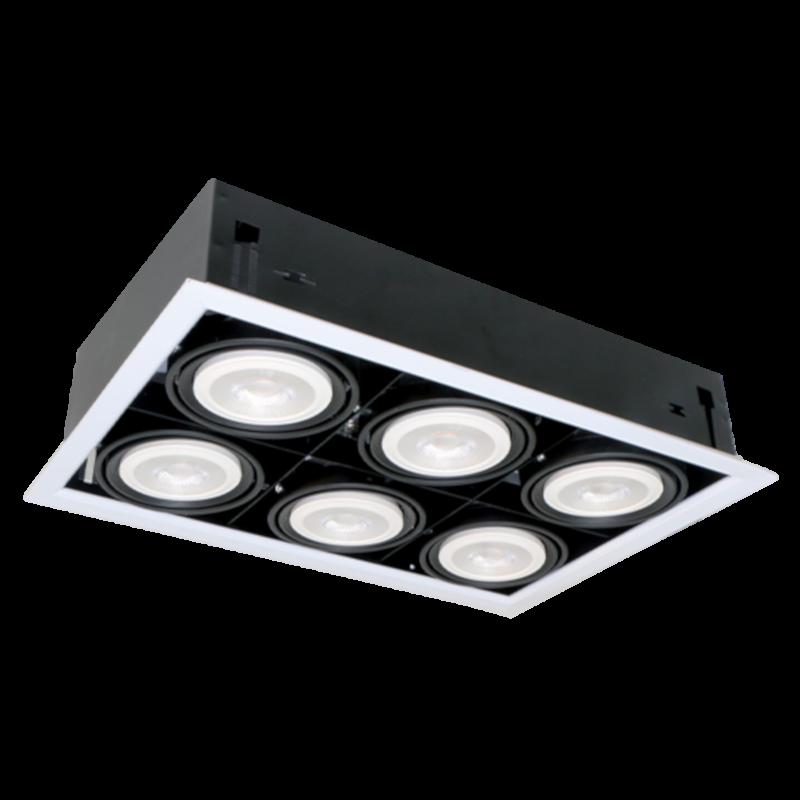 Spoturi LED Magazin Incastrabile 12W 6XE27 4000K DARK Gri