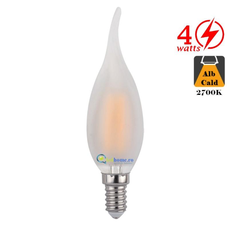 Bec LED cu filament forma flacara 4W E14 Alb Cald Dispersor Mat
