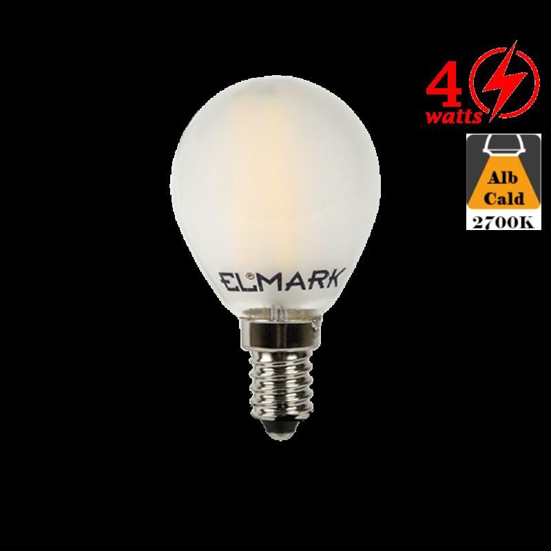 Bec LED cu filament 4W E14 Alb Cald Dispersor Mat
