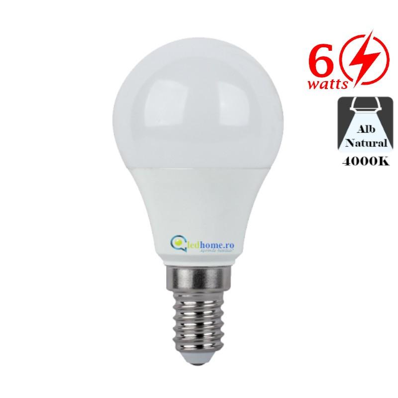 Bec LED tip Glob 6W E14 Alb Neutru