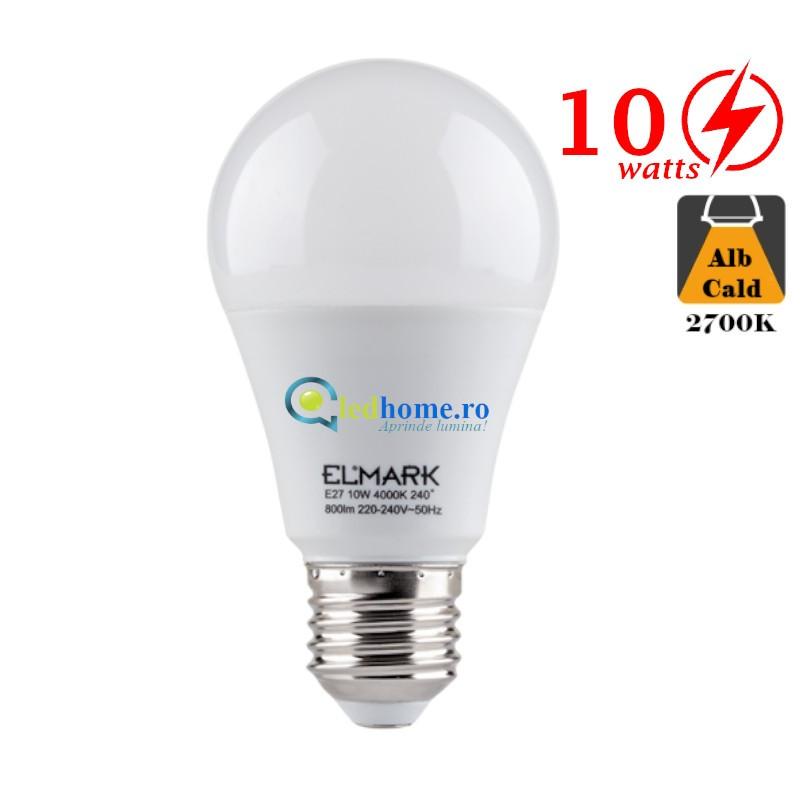 Bec LED 10W E27 Alb Cald