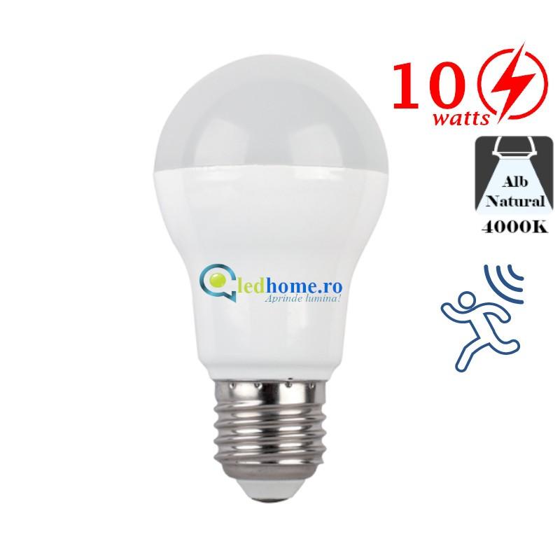 Bec LED cu senzor de miscare 10W Alb Neutru