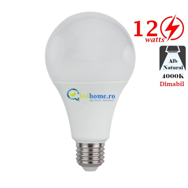Bec LED 12W E27 Alb Neutru Dimabil