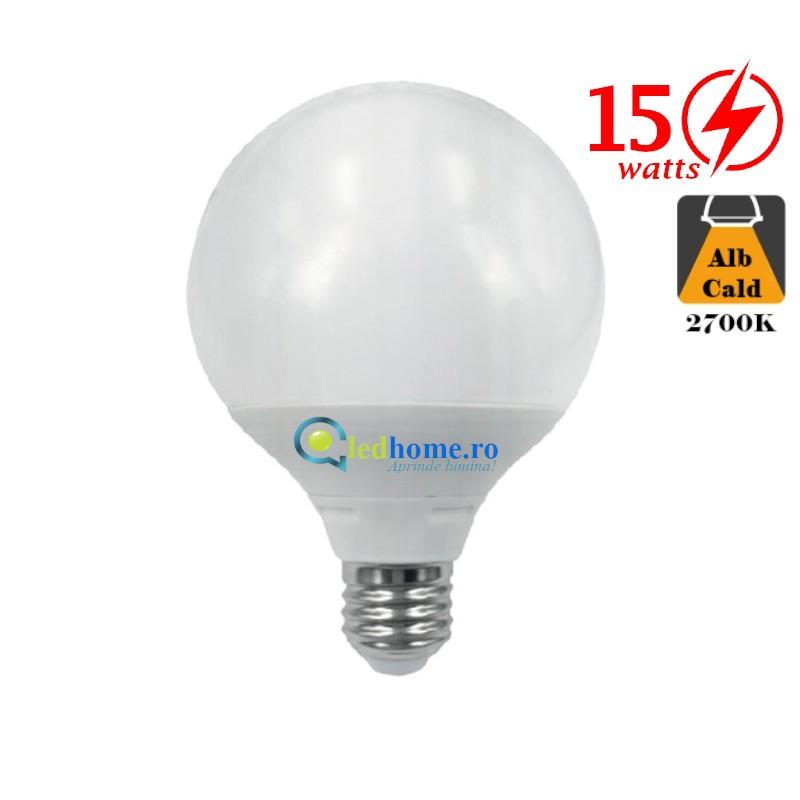 Bec LED tip Glob G95 15W E27 Alb Cald