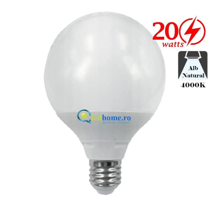 Bec LED tip Glob G120 20W E27 Alb Rece