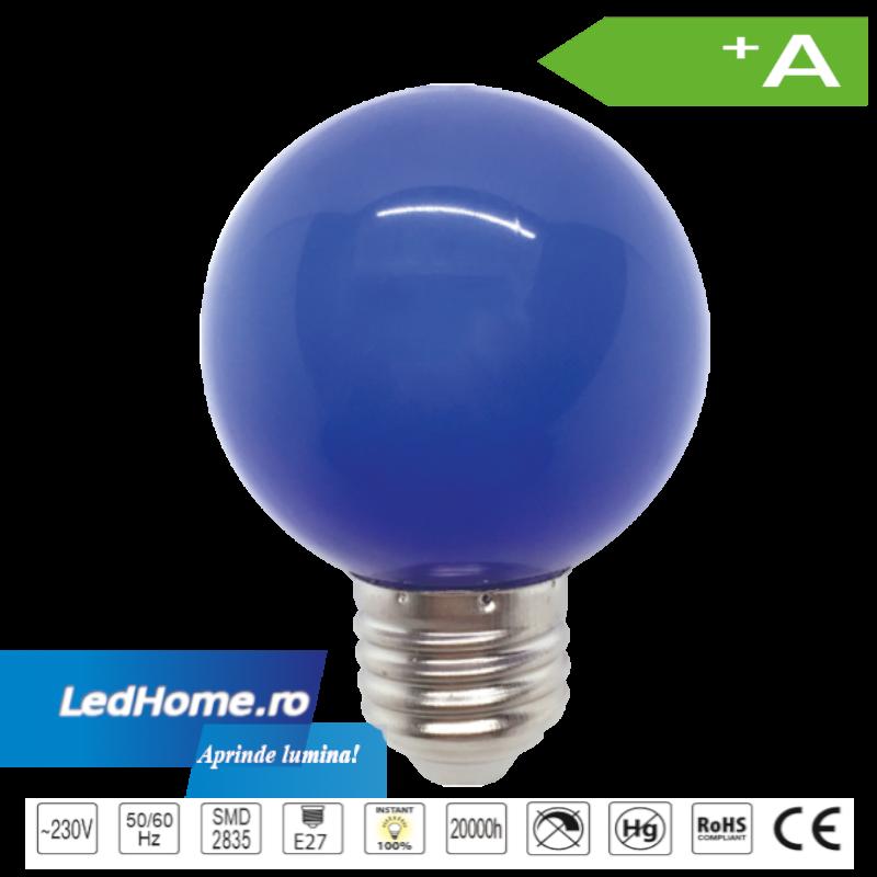Bec LED tip Glob 3W E27 Albastru