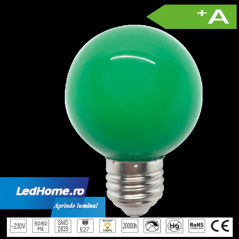 Set 10 Becuri LED tip Glob 3W E27 Verde