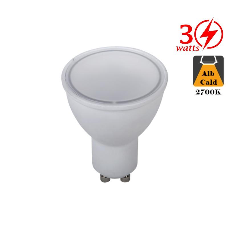 Bec LED 3W GU10 Alb Cald