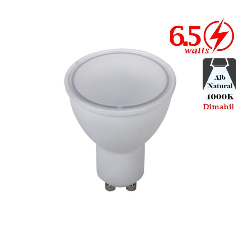 Bec LED 6W GU10 Alb Rece Dimabil