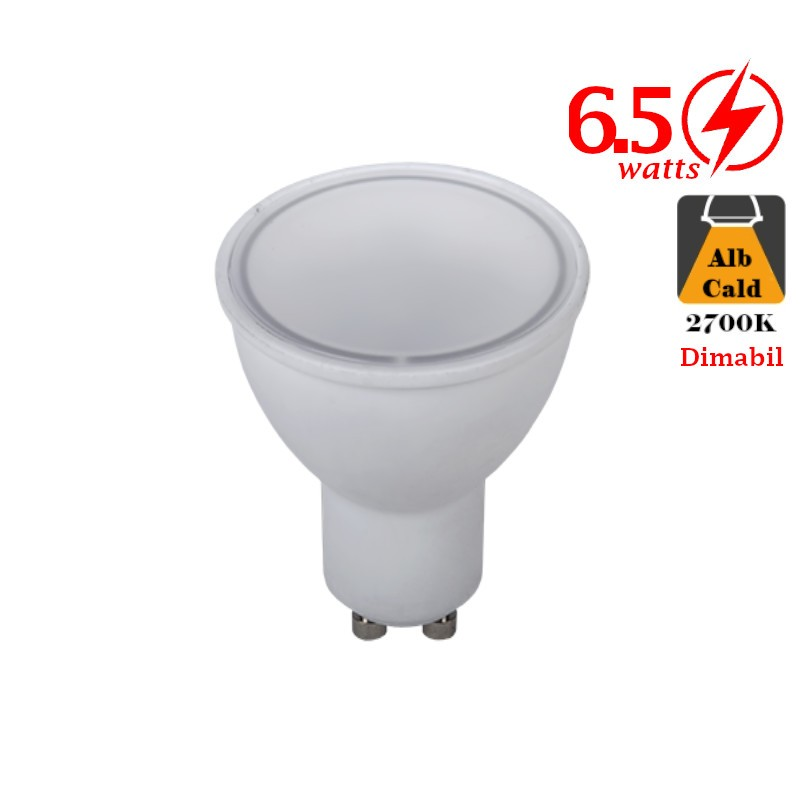 Bec LED 6W GU10 Alb Cald Dimabil