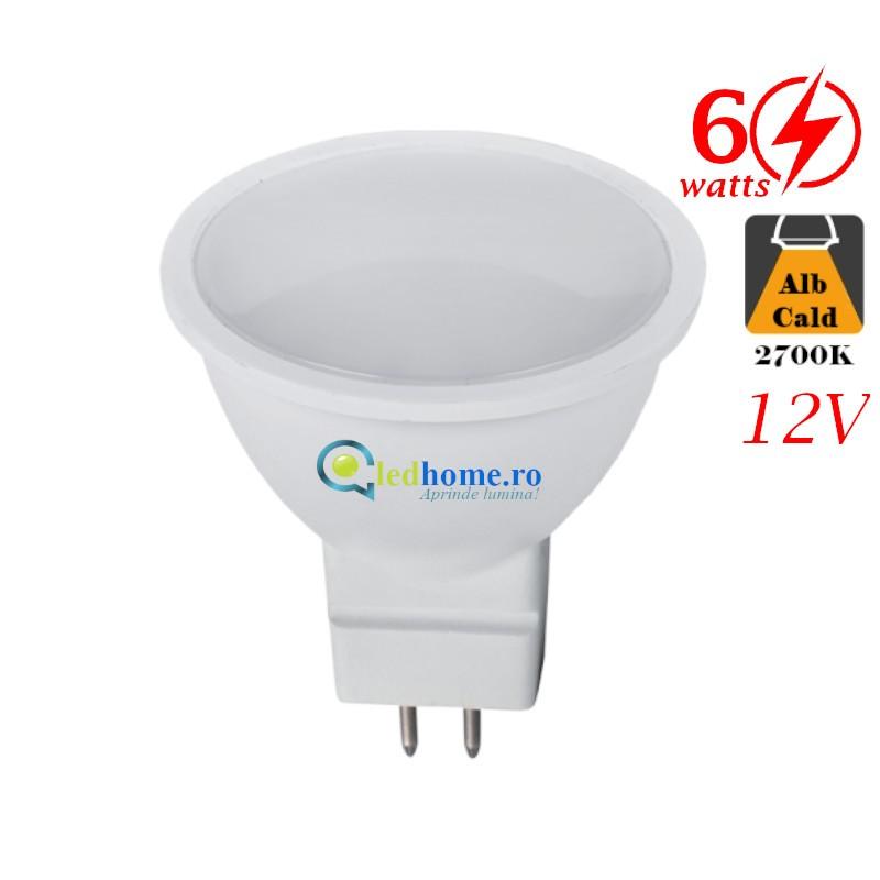 Bec LED 6W GU5,3 12V Alb Cald