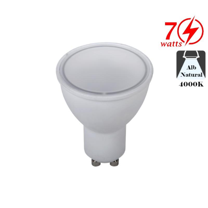 Bec LED Spot 7W GU10 Alb Neutru