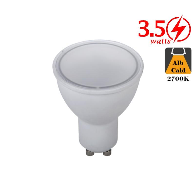 Bec LED Spot 3,5W GU10 Alb Cald