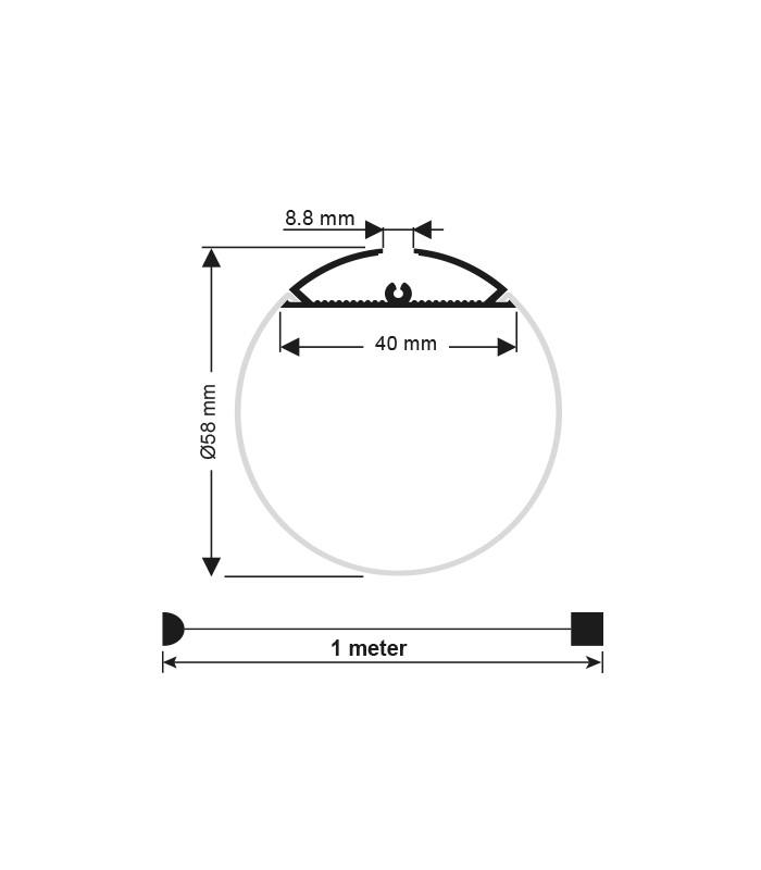 Profil Banda LED CILINDRU Ø 60MM, 2M