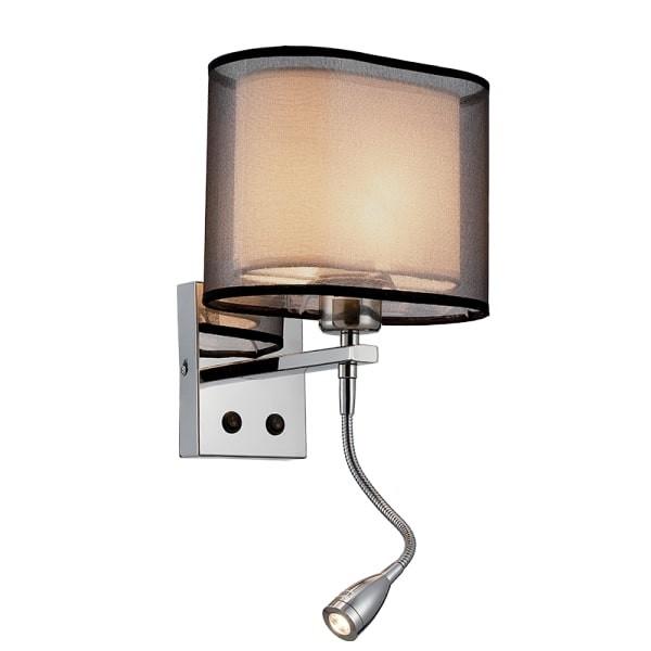 Lampa de perete cu LED si bec 1XE27 +1WLED 4000K Crom