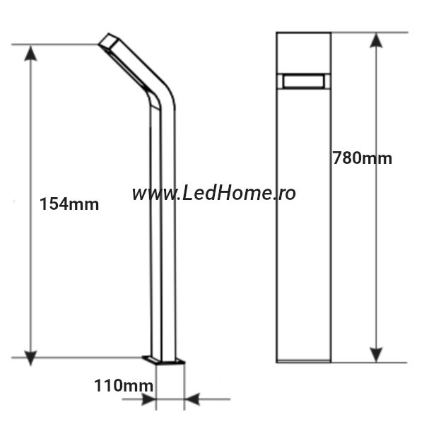 Stalp Iluminat Exterior 10W Lumina Neutra h78cm