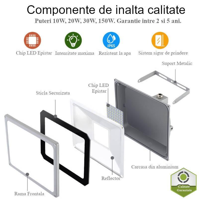 Proiector LED 10W Alb, VEGA SLIM, Alb Natural