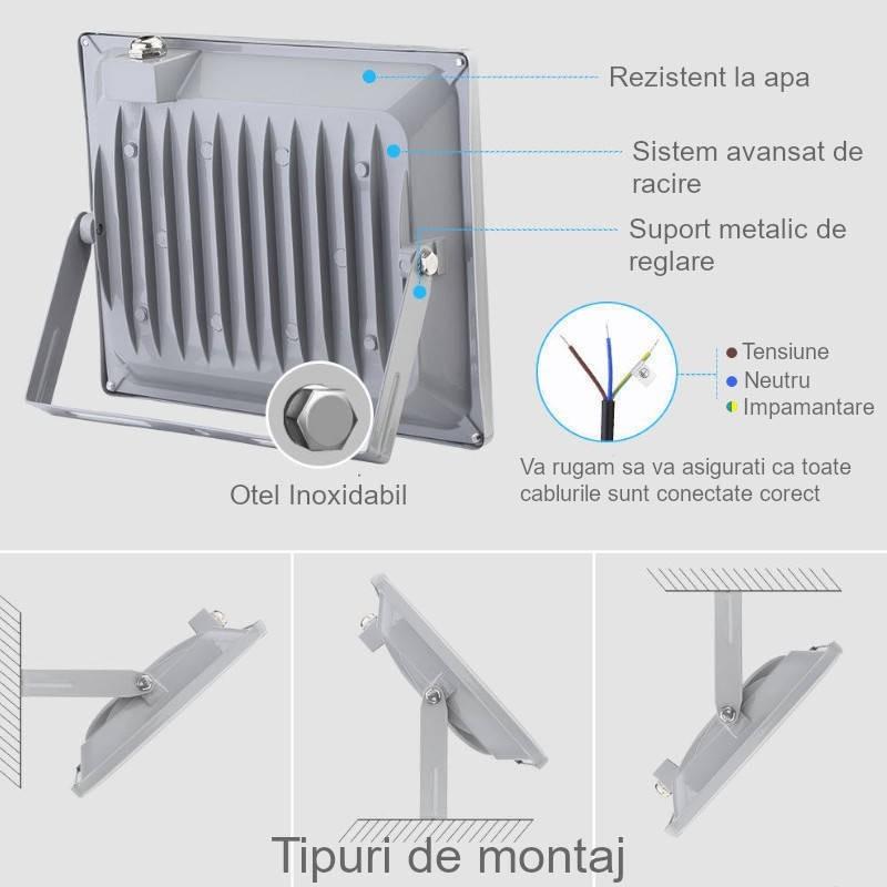 Proiector LED 20W cu senzor de miscare, Alb Rece